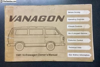 VW - Owner's Manual - 1981 Vanagon