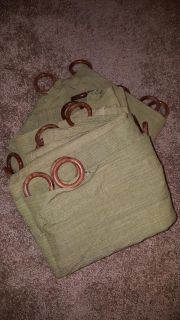 4-Sage Green curtain panels all 40 x 80 with wood rings
