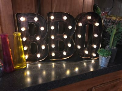 Metal Lighted BBQ marquee