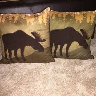 Winter themed moose decorative throw pillows. A couple of different textures. 17x17 . Freshly washed. Non smoking. No cats but have a dog.
