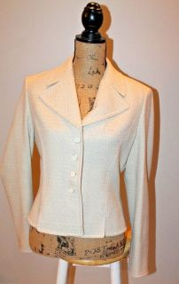 Elegant Ann Taylor Ivory Blazer with Gold Metallic Thread, LIned, Size 8
