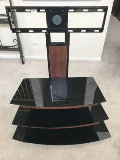 Whalen 3-Tier Television Stand -Black Metal & Glass with Wood Trim