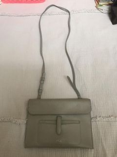 Ralph Lauren leather crossbody purse in near perfect shape. Approx 10 x7 . Gray in color. Smoke free. $40. Retail $150