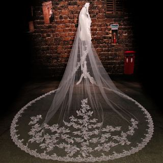Cathedral 1 Layer Wedding Veil White/Ivory 9.84' Long