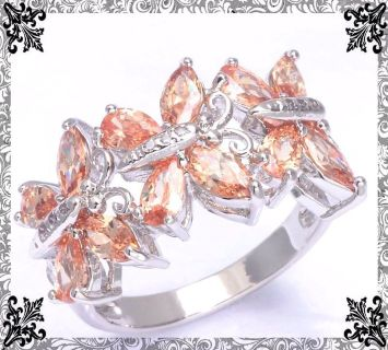 New - Morganite Butterflies Ring - Size 8