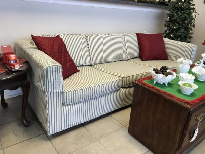 Green and white couch