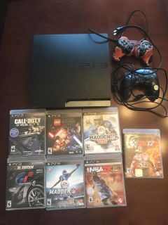 Playstation 3. Comes with 2 controllers and 7 games.