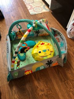 Play mat gym with music, balls, & pillow $20
