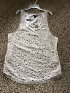 NWT American Eagle lined ivory sequin tank top size 16