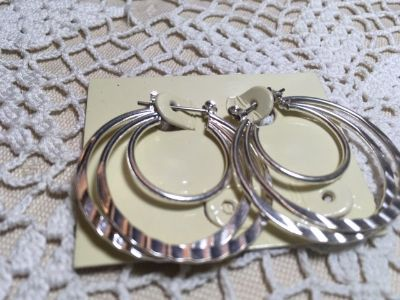 image 0 image 1 Silver Triple Hoop Earrings With Level Bar Post Designs on Hoops