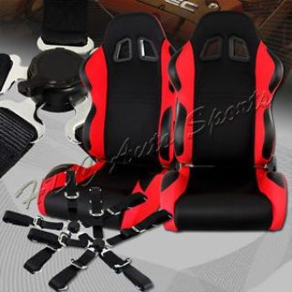 Find TYPE-7 Black/Red Fully Cloth Racing Seats + 5-Point Black Seat Belt Universal 3 motorcycle in Walnut, California, United States, for US $299.99