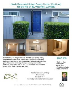 Open House, Sat April 27th 1-4. 158 Del Rio Ct #2, Vacaville, CA 95687