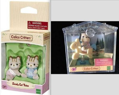 New! Calico Critters Sandy Cat Twins Set + Puppy on Horse Mini Case