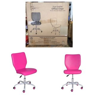 Mainstays Office Chair with Matching Color Casters, Adjustable Color: Fuchsia
