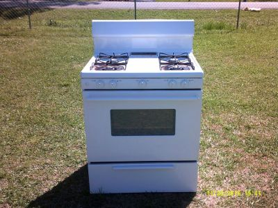 used gas cooking range, white