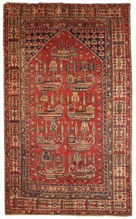 Handmade antique prayer Turkish Anatolian rug 1B31