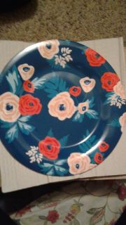 NAVY FLORAL STONE WARE LARGE PLATES