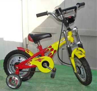 """Harley Davidson .. Kids - Toddler .. 12"""" Bike .. Yellow with Red Flames and Training Wheels .. Rare"""
