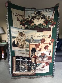 Cat and Seasons throw blanket