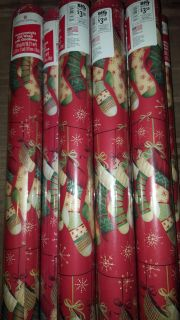 BNIP Large Roll American Greeting Wrapping paper with stocking design