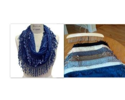 Lace Infinity Scarves with Teardrop Fringes