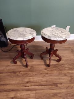 Marble top Victorian style end tables