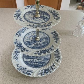 Waterford and delft cookie tray