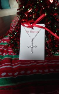 "AVON, 16.5"" Silvertone Cross Necklace"