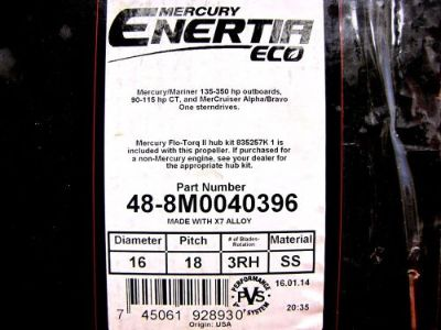 Find Mercury Prop Set - Enertia ECO 18 Pitch RH&LH Part#s 48-8M0040396 & 48-8M0040397 motorcycle in Fort Myers, Florida, United States, for US $1,180.00