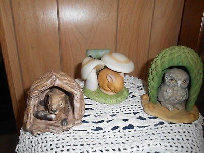 Woodland Surprises Animal Figurines by Franklin Mint! Porcelain figurine sets OWL, MOUSE, and ...