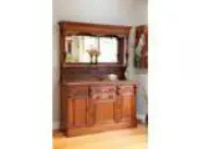 Antique Art Nouveau Carved Walnut Mirror back Sideboard Buffet