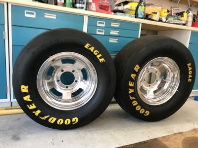 Wheels and tires (slicks) for Ford and Dodge 5 lug light dut