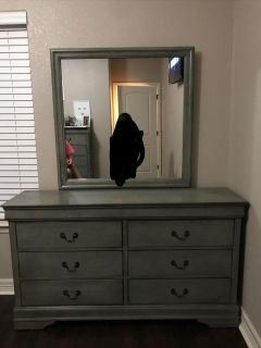 Grey dresser/mirror and tall chest