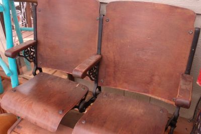Antique Wooden and Cast Iron Theatre Seats