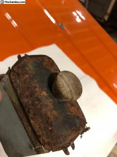 rat rod patina king ash tray W wooden knob