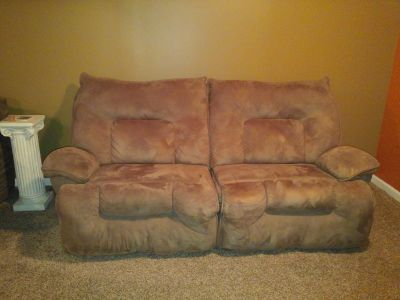 Beige Microfiber Reclining Couch