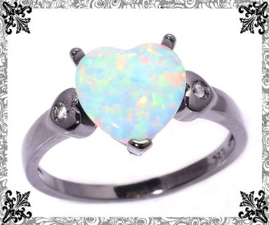 New - Heart White Fire Opal and Black Ring - Size 8