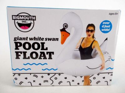 NEW Big Mouth Inc. Giant 4ft White Swan Novelty Pool Float Inflatable Raft Tube