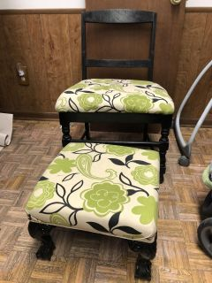 Recovered chair with ottoman