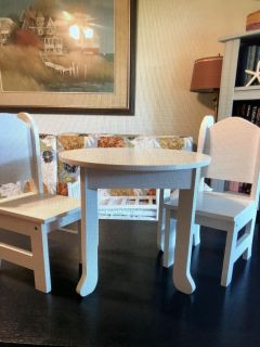 "American Girl Doll or any 18""Doll White Wood Table & Chairs Set"