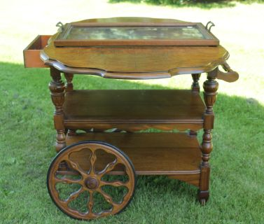 Antique Tea Wagon With Glass Serving Tray