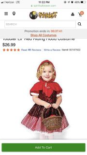 Toddler 2T red riding hood costume