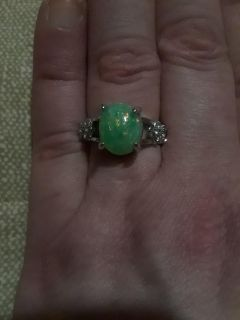 Natural Green Fire Opal in 925 Sterling Silver