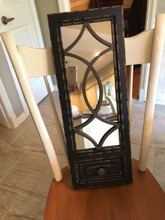 NWT 26 x10 mirror. Black distressed. Rep sample. Hanger on back. Ppu