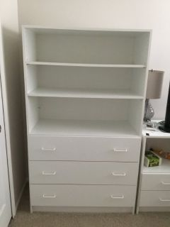 Techline three drawer dresser with shelves above