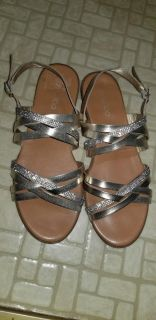 Gold flat strappy sandals