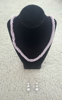 Light Pink/Lilac Beaded Necklaces w/Matching Hook Earrings