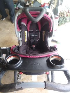Jogging stroller with car seat and base