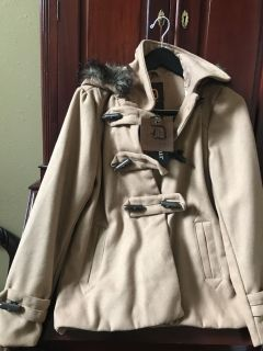 NEW Camel Tan Wool Coat with Fur Trimmed Hood Size M