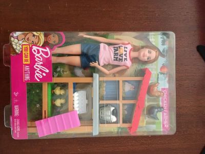 Brand new Barbie with chickens and coupe